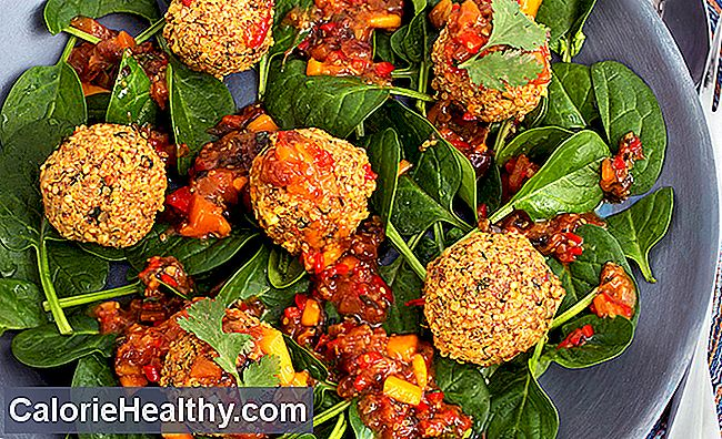 Quinoa balls with mango chilli chutney